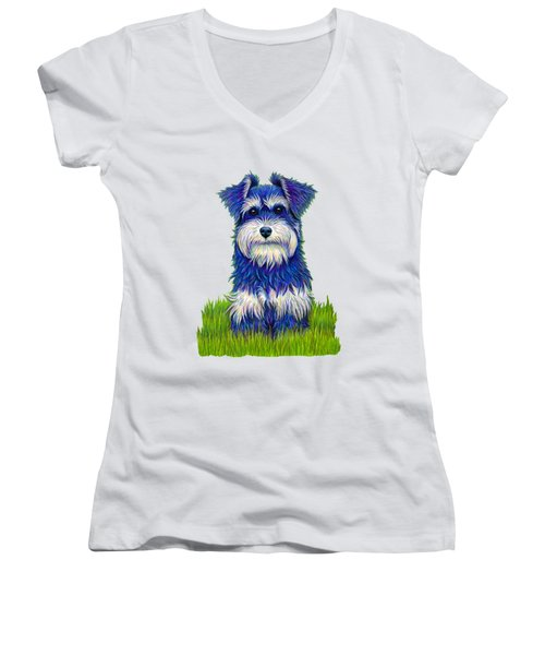 Colorful Miniature Schnauzer Dog Women's V-Neck