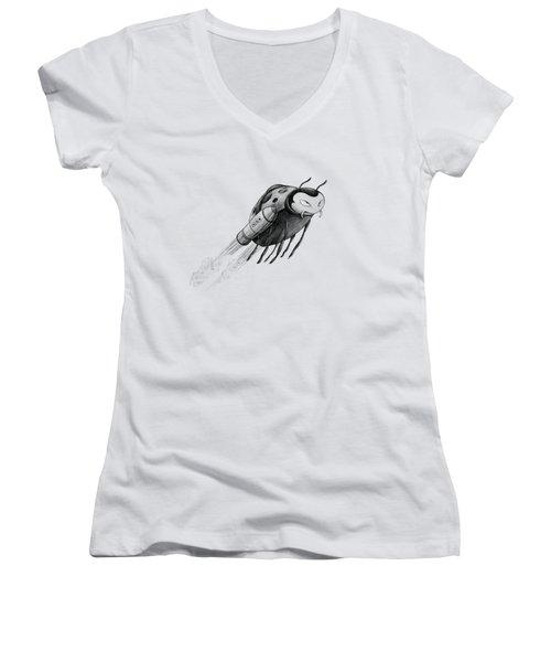 Lady Rocket Bug Women's V-Neck (Athletic Fit)