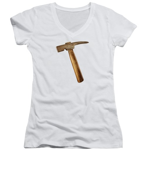 Antique Plumb Masonry Hammer On Color Paper Women's V-Neck (Athletic Fit)