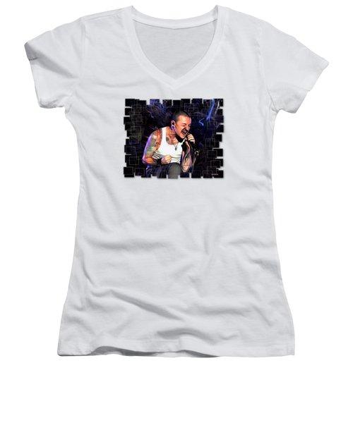 Chester Bennington From Linkin Park  Women's V-Neck (Athletic Fit)