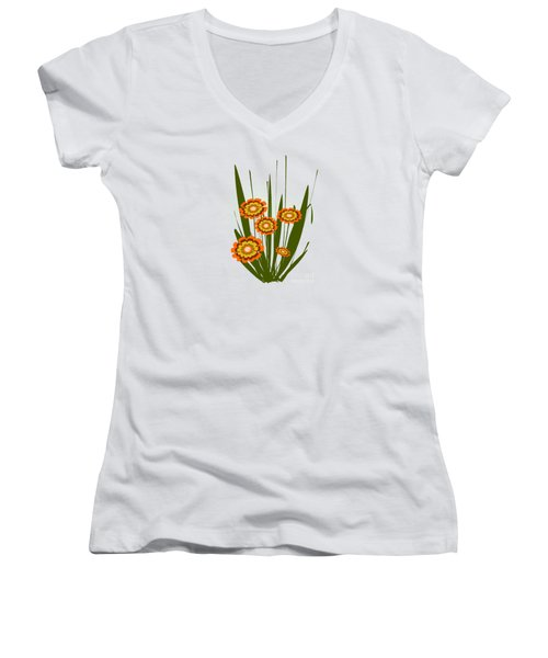 Orange Flowers Women's V-Neck T-Shirt (Junior Cut) by Anastasiya Malakhova
