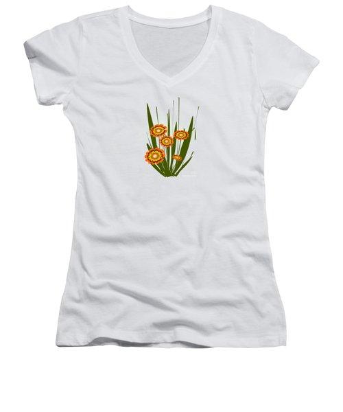 Orange Flowers Women's V-Neck T-Shirt