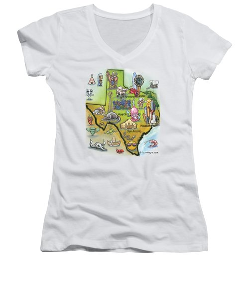 Texas Cartoon Map Women's V-Neck T-Shirt (Junior Cut) by Kevin Middleton