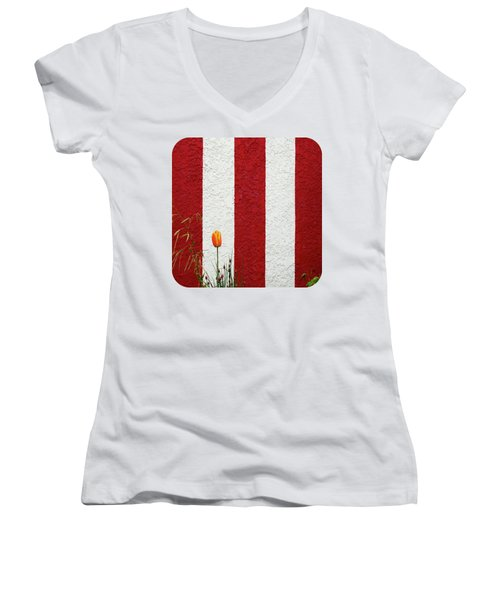 Women's V-Neck T-Shirt (Junior Cut) featuring the photograph Temple Wall by Ethna Gillespie