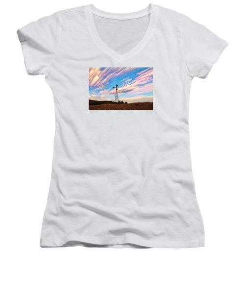 Women's V-Neck T-Shirt (Junior Cut) featuring the photograph Crazy Wild Windmill by Bill Kesler