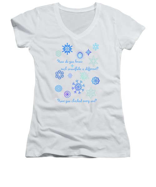 Snowflakes Women's V-Neck (Athletic Fit)