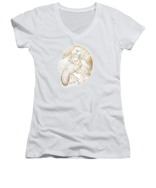 Cat In Fancy Bridal Hat Women's V-Neck T-Shirt (Junior Cut) by Carol Cavalaris