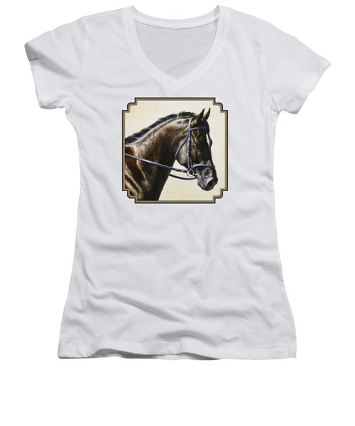 Dressage Horse - Concentration Women's V-Neck T-Shirt (Junior Cut) by Crista Forest