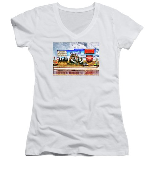 Large North Platte Wall Mural Women's V-Neck T-Shirt (Junior Cut) by Bill Kesler