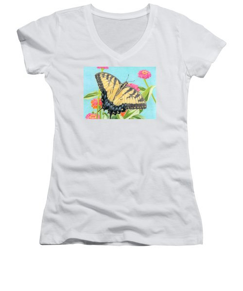 Swallowtail Butterfly And Zinnias Women's V-Neck T-Shirt (Junior Cut) by Sarah Batalka