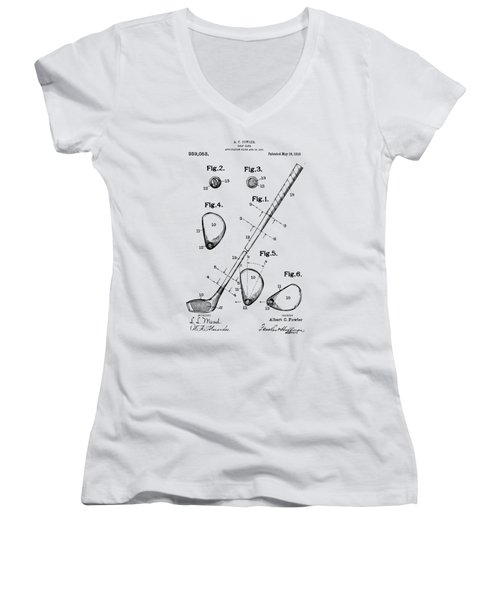Women's V-Neck featuring the digital art Vintage 1910 Golf Club Patent Artwork by Nikki Marie Smith