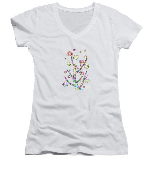 Rainbow Tree Women's V-Neck T-Shirt (Junior Cut) by Anastasiya Malakhova