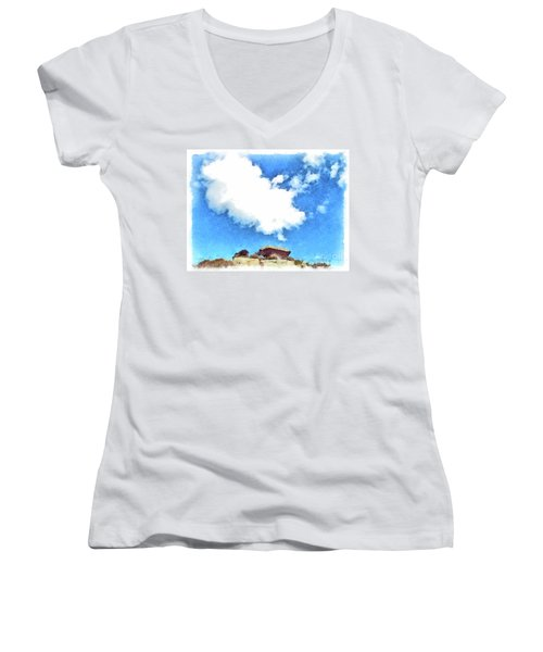Arzachena Mushroom Rock With Cloud Women's V-Neck T-Shirt