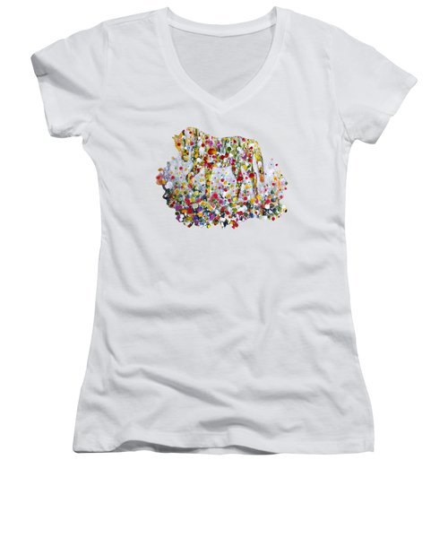 As One Women's V-Neck T-Shirt (Junior Cut) by Kume Bryant