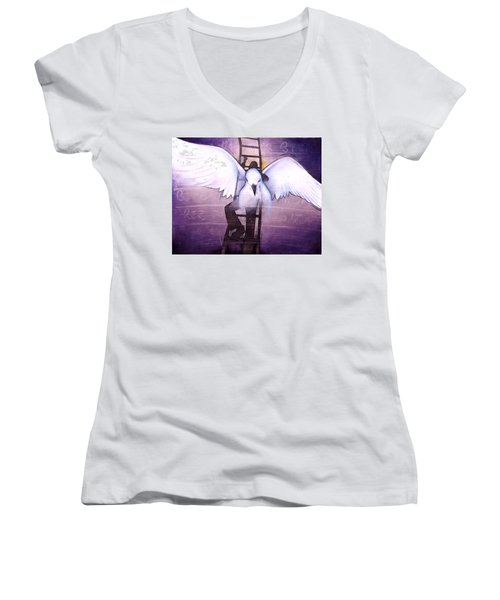 Women's V-Neck T-Shirt (Junior Cut) featuring the painting Ascension by Christopher Marion Thomas