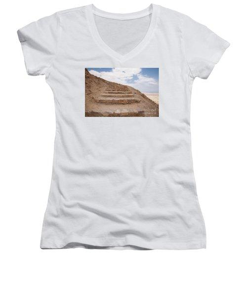 Stairway To Heaven - Masada, Judean Desert, Israel Women's V-Neck T-Shirt (Junior Cut) by Yoel Koskas