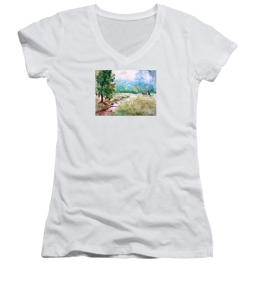 Women's V-Neck T-Shirt (Junior Cut) featuring the painting Aska Farm Creek by Gretchen Allen
