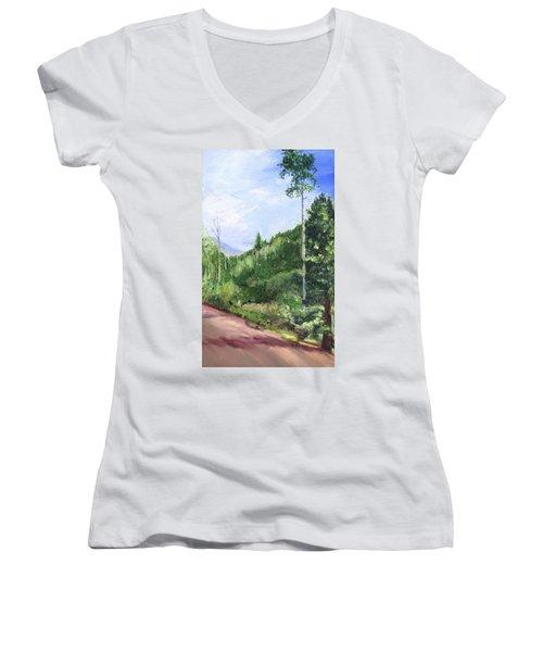 Women's V-Neck T-Shirt (Junior Cut) featuring the painting Aspen Heaven by Jane Autry