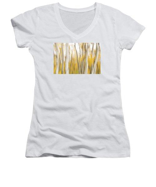 Women's V-Neck T-Shirt featuring the photograph Aspens 2 by Alex Lapidus