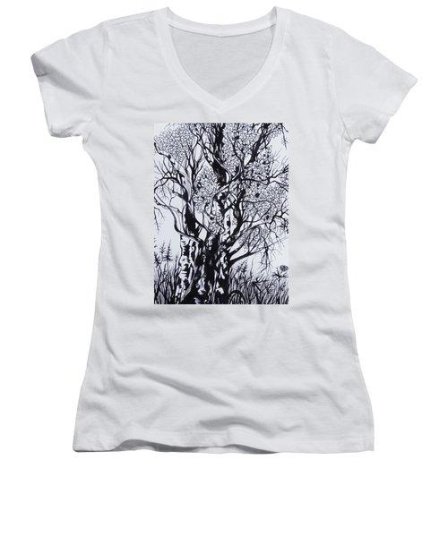 Women's V-Neck T-Shirt (Junior Cut) featuring the drawing Aspens by Anna  Duyunova