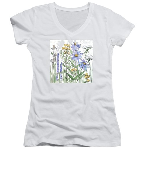 Asters And Wildflowers Women's V-Neck