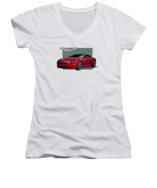 Aston Martin  D B S  V 12  With 3 D Badge  Women's V-Neck