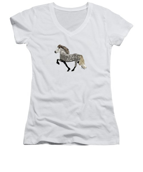 Women's V-Neck T-Shirt (Junior Cut) featuring the painting Astrid by Shari Nees
