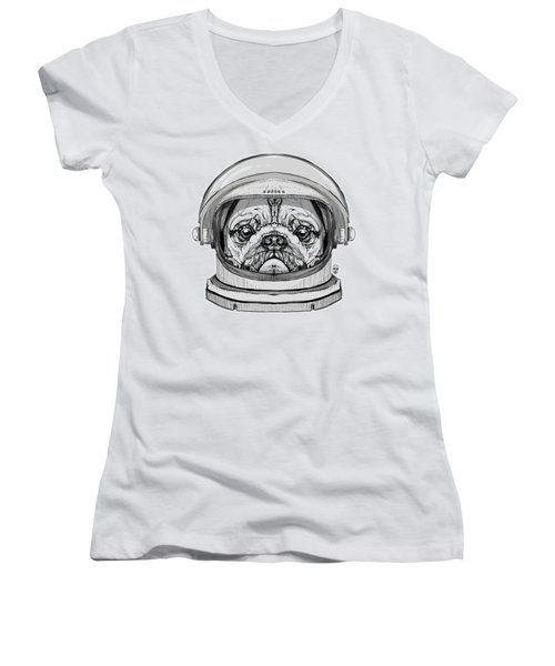 Astronault Pug Women's V-Neck (Athletic Fit)