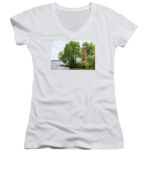 Asylum Point Lighthouse 1 Women's V-Neck T-Shirt