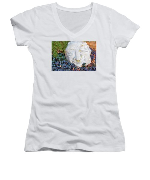 Women's V-Neck T-Shirt (Junior Cut) featuring the photograph At Least Someone's Happy by Jan Amiss Photography