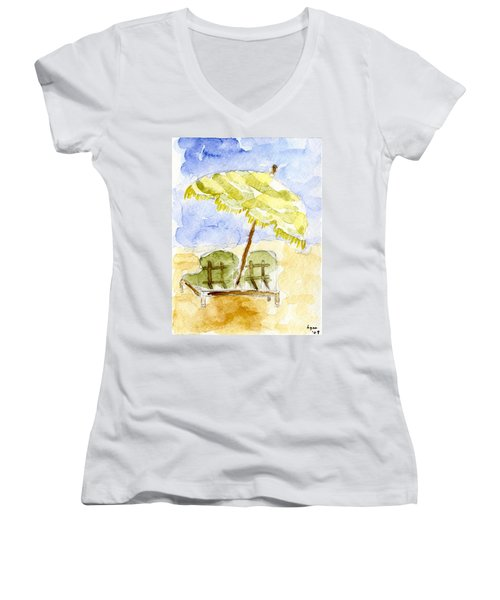 At The Beach Women's V-Neck T-Shirt (Junior Cut) by Afinelyne