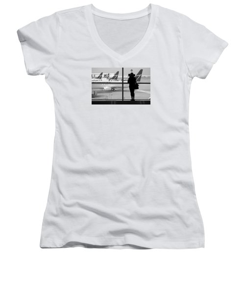 At The Gate Women's V-Neck T-Shirt (Junior Cut) by Valentino Visentini