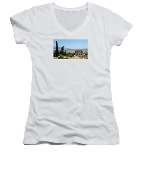 Women's V-Neck T-Shirt (Junior Cut) featuring the photograph Athens From Acropolis by Robert Moss
