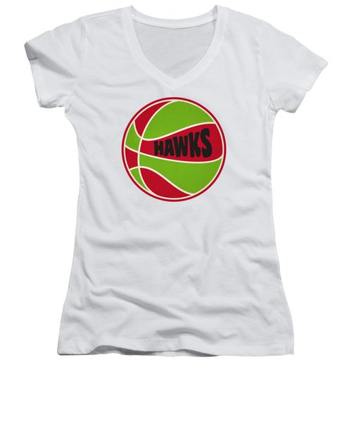 Atlanta Hawks Retro Shirt Women's V-Neck T-Shirt (Junior Cut) by Joe Hamilton