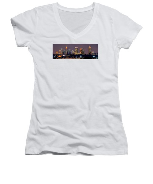 Atlanta Skyline At Night Downtown Midtown Color Panorama Women's V-Neck (Athletic Fit)