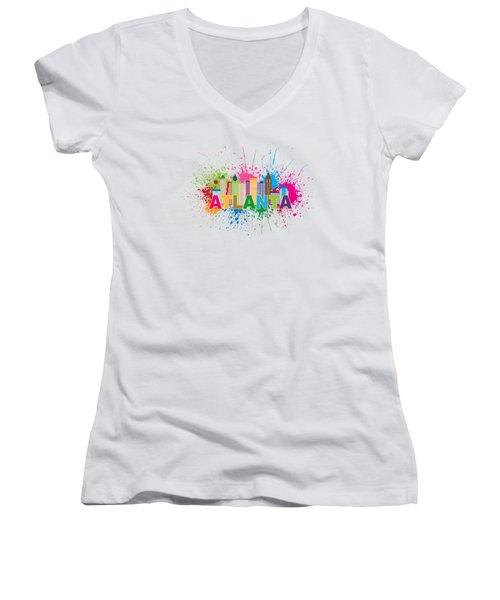 Atlanta Skyline Paint Splatter Text Illustration Women's V-Neck T-Shirt