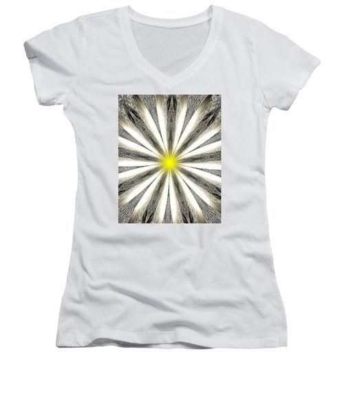 Atomic Lotus No. 4 Women's V-Neck T-Shirt (Junior Cut) by Bob Wall