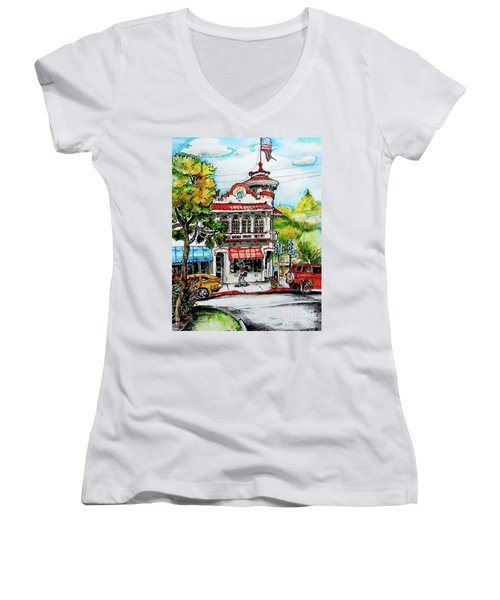 Auburn Historical Women's V-Neck T-Shirt (Junior Cut) by Terry Banderas