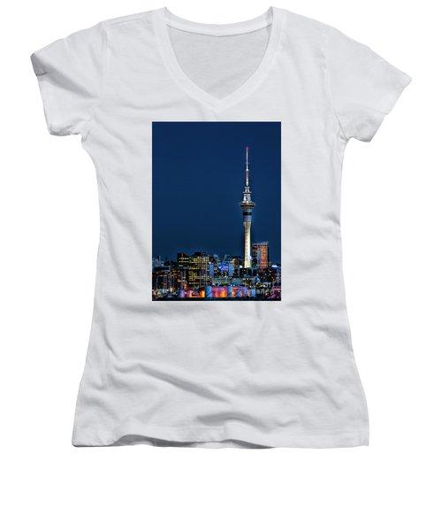 Auckland Skytower Women's V-Neck T-Shirt (Junior Cut) by Karen Lewis
