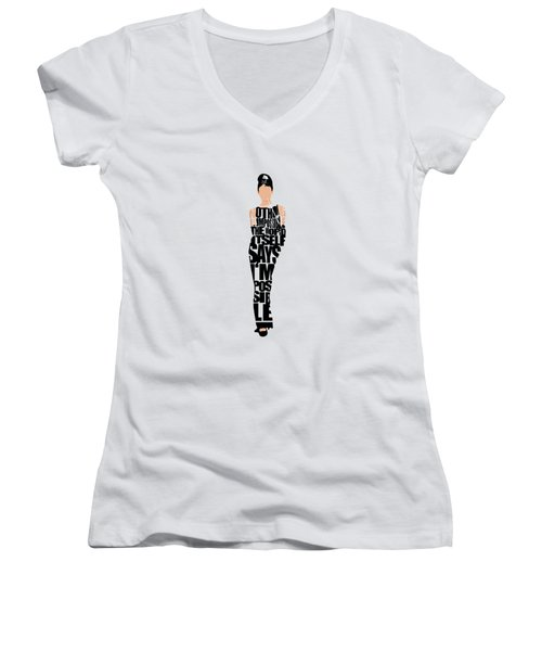 Audrey Hepburn Typography Poster Women's V-Neck (Athletic Fit)