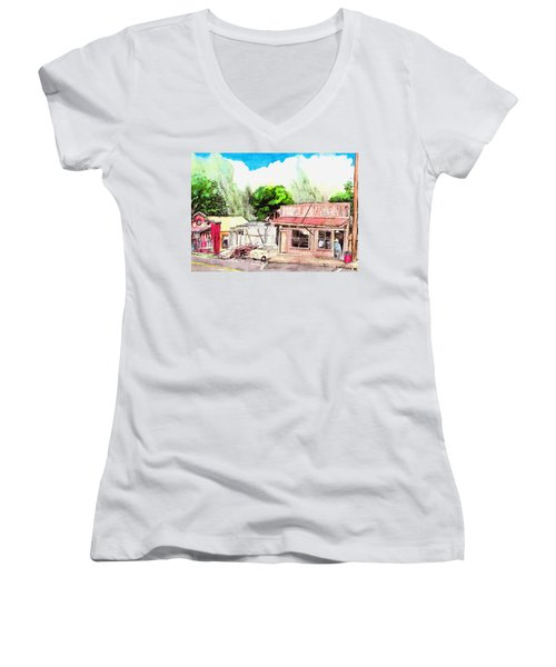 Women's V-Neck T-Shirt (Junior Cut) featuring the painting Auggies Pool Hall by Eric Samuelson