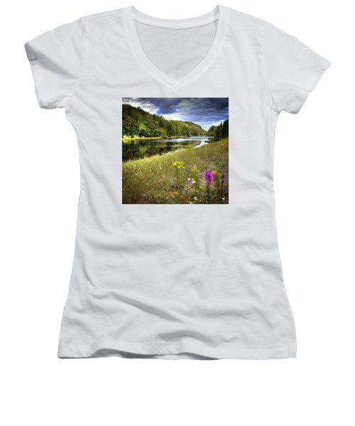 Women's V-Neck T-Shirt (Junior Cut) featuring the photograph August Flowers On The Pond by David Patterson