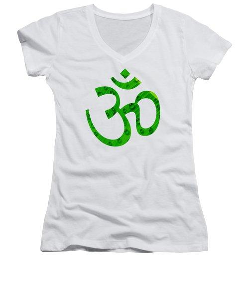 Aum Symbol Digital Painting Women's V-Neck T-Shirt (Junior Cut) by Georgeta Blanaru
