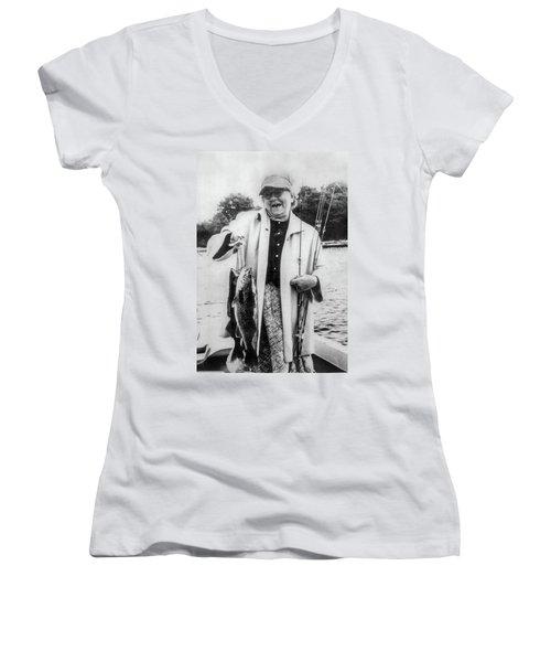 Aunt Grace Fishing Women's V-Neck T-Shirt (Junior Cut) by Paul Seymour
