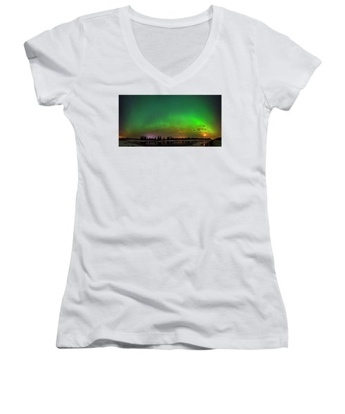 Aurora Over Pond Panorama Women's V-Neck T-Shirt (Junior Cut) by Dan Jurak