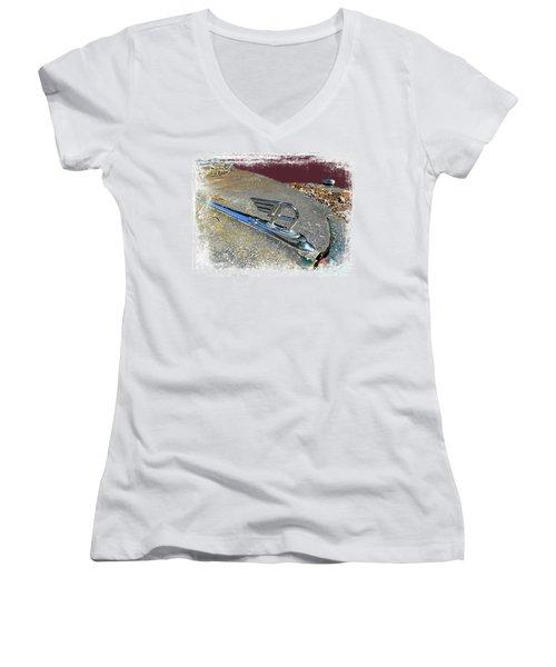 Women's V-Neck T-Shirt (Junior Cut) featuring the photograph Austin A40 Somerset Flying A by Nick Kloepping