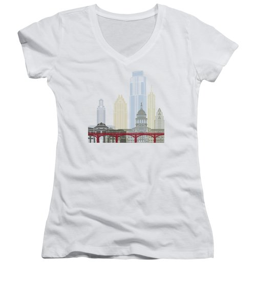 Austin Skyline Poster Women's V-Neck T-Shirt (Junior Cut) by Pablo Romero