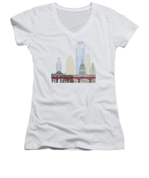 Austin Skyline Poster Women's V-Neck T-Shirt
