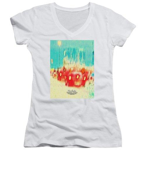Women's V-Neck T-Shirt (Junior Cut) featuring the photograph Austin Traffic by Barbara Tristan