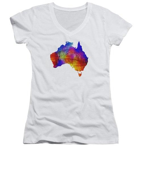 Australia And Sydney Harbour Bridge By Kaye Menner Women's V-Neck T-Shirt (Junior Cut) by Kaye Menner